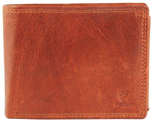 Pierrini PR0010 Herren Echtleder Portemonnaie in Braun Brieftasche Geldbörse 3x9x12 Zentimeter