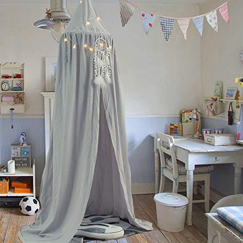 Baldachin Kinder, Jeteven Betthimmel Babys Bett Moskitonetz aus Baumwolle für Kinderzimmer und Schlafzimmer Insektenschutz Höhe 240cm Grau