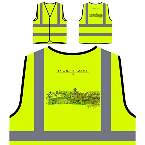 Preisvergleich Produktbild Bassano Del Grappa, Italien Lustige Neuheit Personalisierte High Visibility Gelbe Sicherheitsjacke Weste a664v