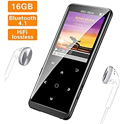 16GB Reproductor MP3 Bluetooth 4.1 HiFi SUPEREYE MP3 Player con 1.8 Pulgadas Cuerpo Efecto Espejo y Botón Táctil Radio FM,Grabarora de Voz,Soporte hasta 64GB