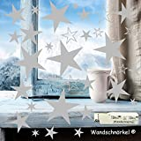 Wandschnörkel® 100 Sterne in SILBER Weihnachten Aufkleber Fenstersticker Sticker als Wandtattoo/Fensterbilder/Schaufensteraufkleber für Ihre Dekoration gestalten Sie Ihre Fenster mit diesen wunderschönen Stickern Größe 2cm -8cm Durchmesser Kinderzimmer Spiegel Wohnzimmer