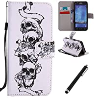 Samsung Galaxy J5 2015 Case,Galaxy J5 2015 Leather Cover,Beddouuk Magnetic Flip Cover PU Leather Wallet Case with Cash&Card Slots Folding Stand Function,Skull Pressed Pattern Design Book Case Folio Cover for Samsung Galaxy J5 2015
