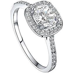 Eleery Damen Klassischer 925 Sterling Silber Süßwasser-Zuchtperlen Ring (US 6(51.8mm), Quadrat Weiss)