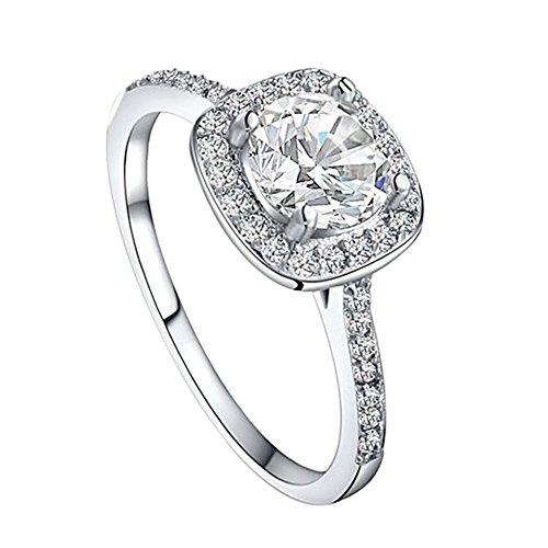 Preisvergleich Produktbild Eleery Damen Klassischer 925 Sterling Silber Süßwasser-Zuchtperlen Ring (US 6(51.8mm), Quadrat Weiss)