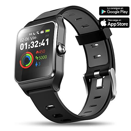 Aiwei Tech Reloj Inteligente Fitness Tracker con Monitor de Frecuencia Cardíaca y Sueño, 17 Modos Deportivos, Podómetro Pulsera Hombre Mujer Niños (Pantalla Color, IP68 Impermeable)