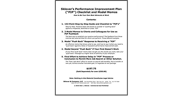 sklover s performance improvement plan pip checklist and model