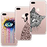 [3 Pack] iPhone 7 Plus Case, iPhone 8 Plus Case, Shumeifang® Ultra Thin Soft Gel TPU Silicone Case Cover with Cute Cartoon for Apple iPhone 7 Plus/8 Plus - Eye & Butterfly girl & Cat