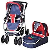 Knorrtoys 90793 - Puppenkombi Coco inkl. Puppenwanne - denim and red
