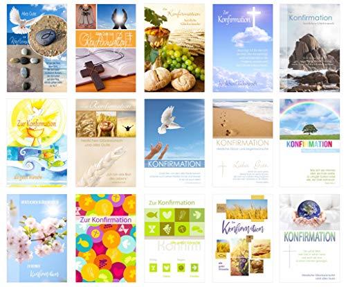 Edition Seidel Set 15 Konfirmationskarten mit Umschlag - Glückwunschkarte zur Konfirmation - Konfirmationskarte - Set Kartenset (Klappkarten mit Briefumschlag)