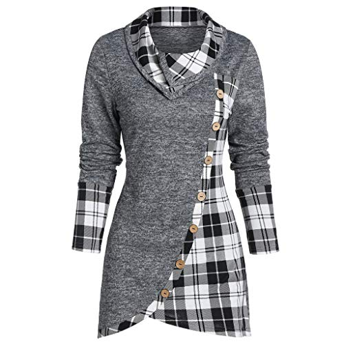 Lazzboy Bluse Frauen Langarm Plaid Rollkragen Tartan Tunika Sweatshirt Pullover Tops Damen Cowl Neck Asymmetrisch Kariert T-Shirt(Grau,2XL)