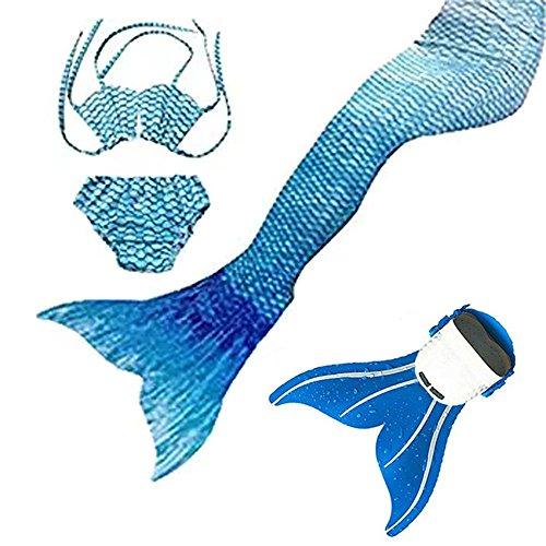 Mdchen Meerjungfrauen Bikini Tankini Kostm Meerjungfrau Schwimmanzug Badeanzge, Wasser blau, 130 cm