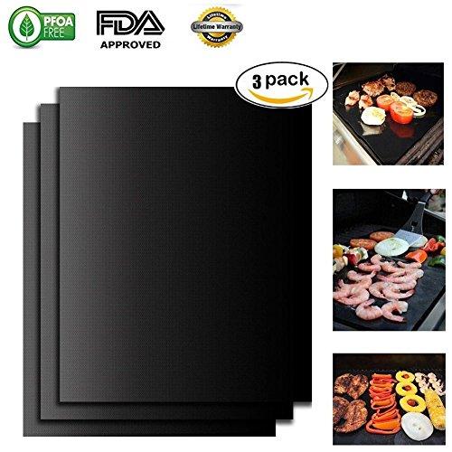 BBQ Grill matte von Yawao, Antihaft OfenLiner Teflon Kochen Matten - einfach zu reinigen, wiederverwendbar, langlebig, hitzebeständig, Barbecue Bettwäsche für Grillen Fleisch (Schwarz-- 3 PCS) (Schwarze Heuschrecken)