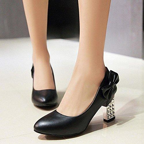 TAOFFEN Femmes Chaussures Confortable Bloc Talons Hauts A Enfiler Escarpins De Bowknot Noir