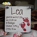 Shabby Style Geburtsschild Mädchen - Füße/Fußabdruck