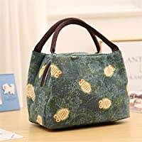 Preisvergleich für Yudanwin Leinwand-Lunch-Tasche Cartoon Eule Tragbare Lunchpaket Isolierung Pack (grün)