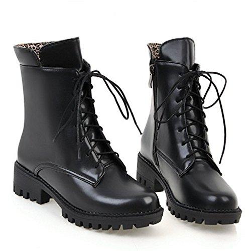 TAOFFEN Femmes Mode Bloc Fermeture eclair Martin Bottes Ecole Chaussures Black