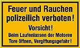 Aufkleber / Schild / Sicherheit - Firma -Haus - Hotel - 4383. Hinweisschild für Tankanlagen und Garagen Feuer und Rauchen polizeilich verboten Vorsicht! PVC 25x15cm