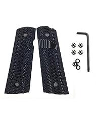 Cool Hand 1911 Magwell G10 Grips pour Pistol Full Size (Gouvernement / commandant), Vis gratuite, Ridges Texture Gris / Noir, sécurité Ambi, Gris / Noir