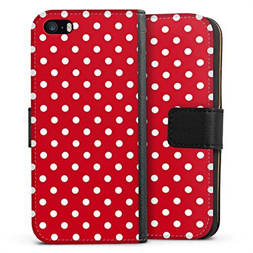 DeinDesign Apple iPhone 5s Tasche Leder Flip Case Hülle Punkte Rockabilly Kleid