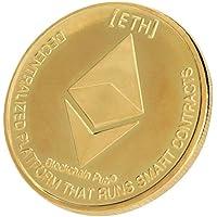 ETH Ethereum Coin, AmaMary vintage plateado ondulación moneda ETH Coin coleccionable colección de arte de regalo Física (1 PCS, oro)