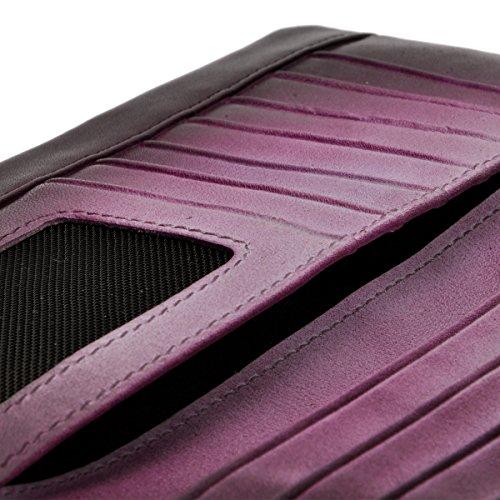 Portafoglio Stile Retrò Fatto a Mano Dip-Dye Pelle Morbida Lungo Clutch Custodia della Carta Tasca a Cerniera (Viola) Purple