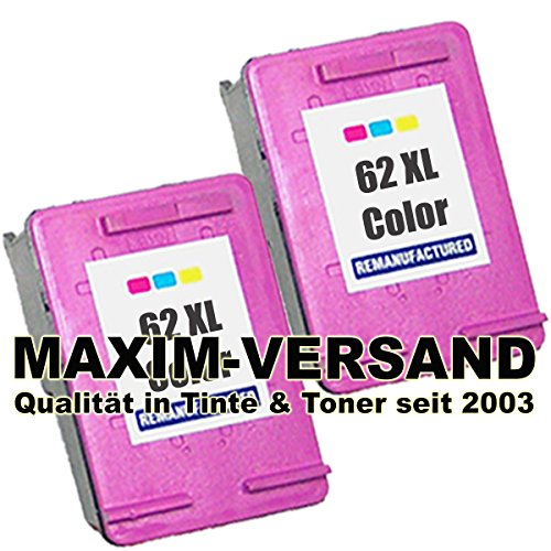 2 XL MAXIMPRINT Tintenpatronen (refill - wiederaufgefüllt) Set für HP 62 XL Color / Farbe C2P07AE...