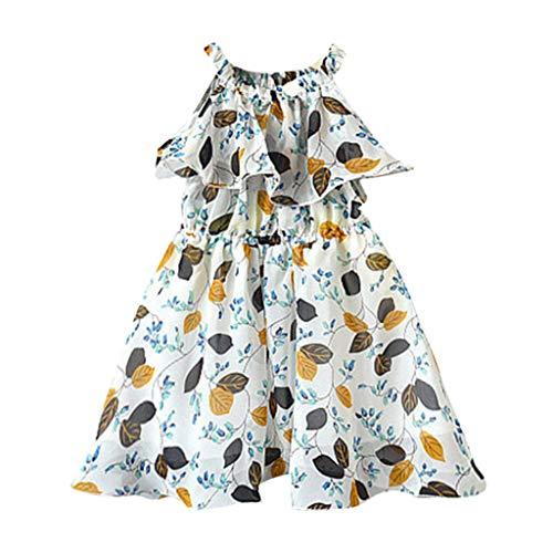 MäDchen Kinderkleidung, Yanhoo Toddler Baby Girls äRmellos Raffles Blattdruckkleid Vest Kleidet Kinder äRmellos Schlankes BöHmisches Blattblatt Rock Kleider
