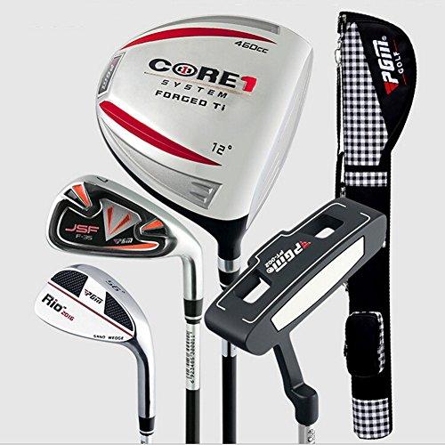 PGM Golfschläger Halb Sets Golf Paket --- 1Driver, 1Eisen, 1sand Wedge, 1Putter, die in ein Gun Tasche, Herren damen, red for men