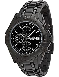 Accurist Chronograph Black Dial IP Black Stainless Steel Bracelet Mens Watch MB837