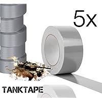 Panzertape TANK TAPE Klebeband Band Gewebeklebeband Panzerklebeband Gewebebänder Reperaturband Duct Tape silber grau silber 10 Meter wasserfest (5x Stück)