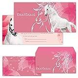 PAPERHELDEN 12 Pferde Einladungskarten mit 12 Umschlägen zum Kindergeburtstag | Pferd Geburtstags-Einladungen zur Mädchen Party für Kinder
