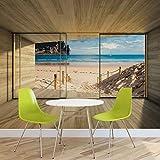 Fenster Weg Strand Sand Natur- Forwall - Fototapete - Tapete - Fotomural - Mural Wandbild - (3308WM) - XXL - 312cm x 219cm - VLIES (EasyInstall) - 3 Pieces
