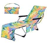 BETTERLE Strandkorb Handtuch Lounge Chair Cover, Mikrofaser Strandtasche Garten Sonnenliege Handtuch Stuhl Strandtuch mit Taschen schnell trocknende Handtücher, 210x75cm (Yellow)