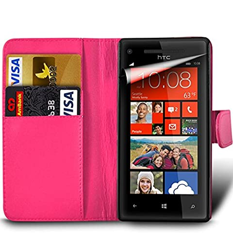 Samsung Galaxy A7 2nd Gen / SM-A717 (2016) Premium PU Leather Wallet Flip Skin Case Cover in HOT PINK with Capacitive STYLUS Touch Screen Pen