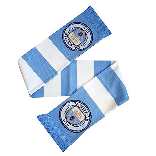 Manchester city fc ufficiale - sciarpa a strisce con logo - unisex (taglia unica) (bianco/blu)