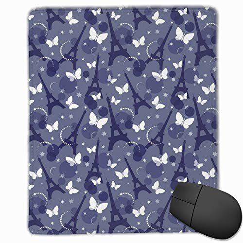 dges, Vibrant Color Eiffel Tower Background With Stars And Butterflies City Of Fashion,Gaming Mouse Pad Non-Slip Rubber Base ()