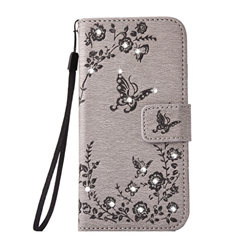 "Price comparison product image Mo-Beauty® iPhone 6/6S Floral PU Leather Wallet Case [Free Tempered Glass Screen Protector] With Hand Wrist Strap,Bling Glitter Sparkling Rhinestone Floral Flower Butterfly PU Leather Flip Wallet Case Cover For Apple iphone 6 6S 4.7"" inch (Gray)"