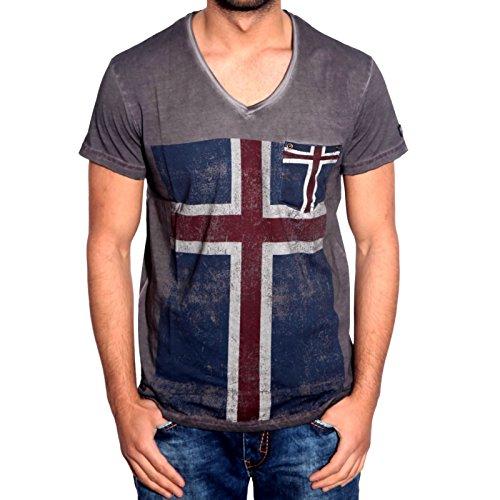 R-NEAL T-Shirt V-Ausschnitt slim fit Anthrazit