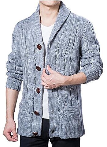 La Vogue Homme Cardigan Gilet Pull-Over Tricot Automne Hiver Chaud Bleu Size4