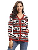 Aibrou Women Sweater Reindeer Christmas Knit Vintage Sweater Open Christmas