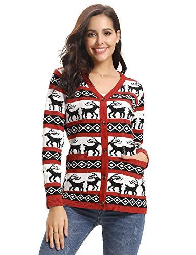 (Aibrou Weihnachten Pullover Damen Rentiermuster Reindeer Schneeflocke Strickpullover V-Ausschnitt Christmas Sweater mit Tasche)