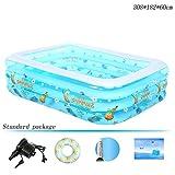 Rechteck-aufblasbarer Pool 3 Ringe Blau verdicken Haushalt Kinder Planschbecken 308 * 182 * 60cm ( Farbe : Standard package )