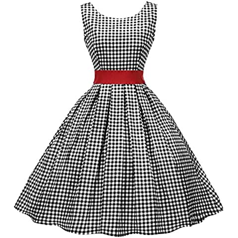 EA Selection Women 1950s Vintage Sleeveless Polka Dot A Line Vest Skirt Swing Party Dress (50s 60s Dress)