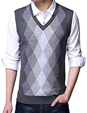 Zhhlaixing De los hombres Mens Father Rhombus Pattern Soft V-neck Pullover Knitted Knitwear Jumper Vest Waistcoat...