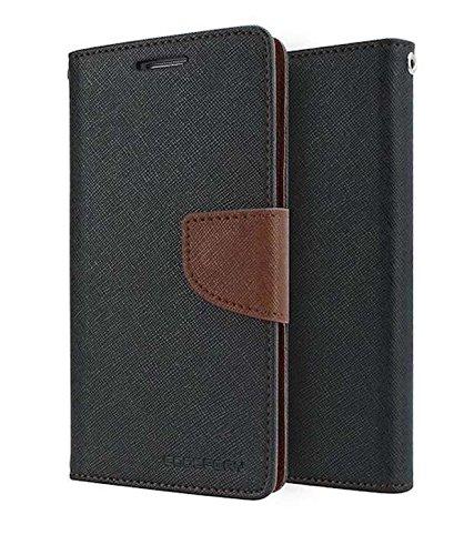 Imported Stylish Mercury Goospery Wallet Flip Case Cover Made For Nokia Lumia 730-Black with Brown Flip