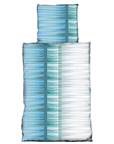 Basatex 4 Teilige Sommer kühlende Microfaser Bettwäsche 2X 135x200 2X 80x80 cm, Trizio Aqua
