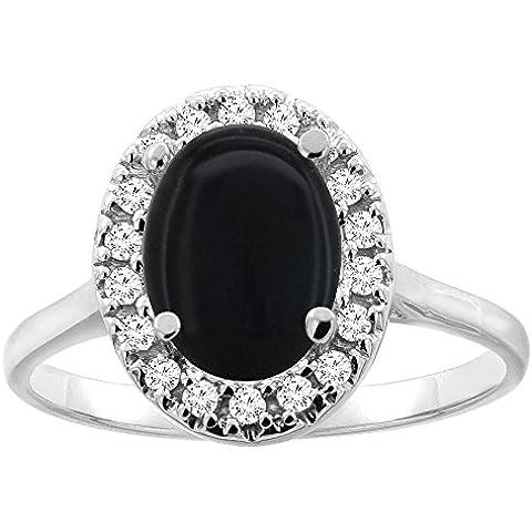 Revoni-Catenina in oro 14 CT, colore: nero Onyx Halo anello, 9 x 7 mm, taglio diamantato