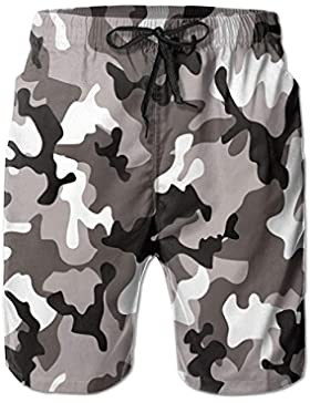 White Black Art Camouflage Pattern Men's/Boys Casual Swim Trunks Short Elastic Waist Beach Pants with Pockets
