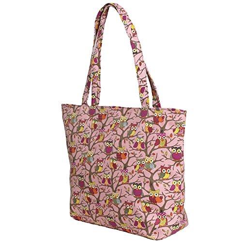 BRUBAKER Damen Shopper Tasche Schultertasche Motiv Eulen 43x30x10 cm (B x H x T) Weiß Rosa