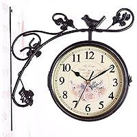 kinine Orologi di moda europea creativo bifacciale in ferro battuto orologio da parete i mobili soggiorno artigianato muto